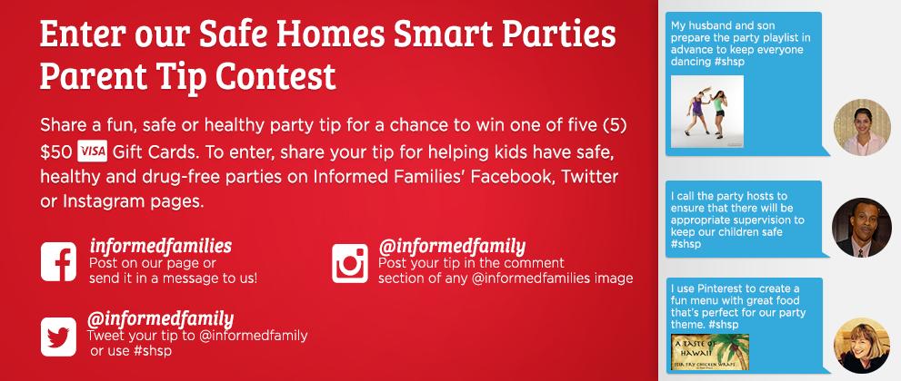 Safe Homes Smart Parties - Parent Tips Contest Banner