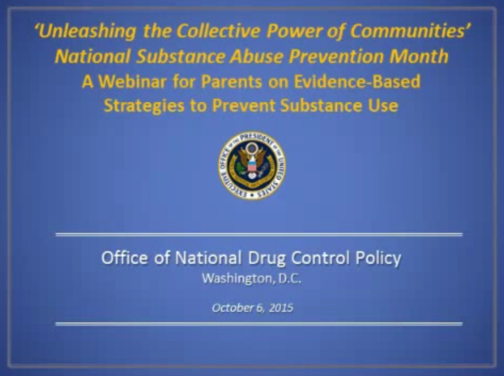 A Parents Webinar: Evidence-Based Strategies to Prevent Substance Use